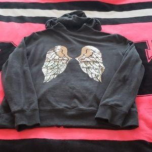 Victoria's Secret Tops - VS Bling Angel Wing Full Zip Hoodie